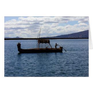 peruvian boat greeting card