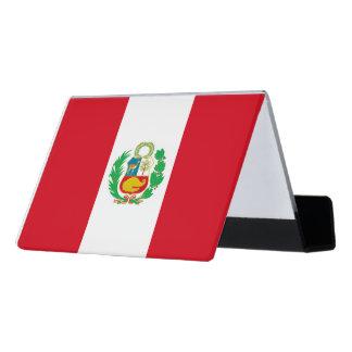 Peruvian flag desk business card holder