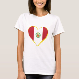 Peruvian Heart Shape Flag with Shield ,T-Shirt T-Shirt