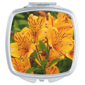 Peruvian Lilies Floral Compact Mirror