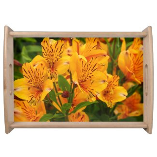 Peruvian Lilies Floral Serving Tray