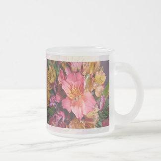 peruvian lily frosted glass mug