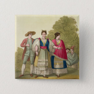 Peruvian Men and Women in Traditional Costume (col 15 Cm Square Badge