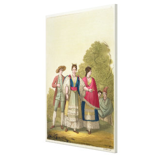 Peruvian Men and Women in Traditional Costume (col Canvas Print