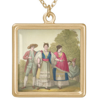 Peruvian Men and Women in Traditional Costume (col Gold Plated Necklace
