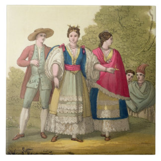 Peruvian Men and Women in Traditional Costume (col Large Square Tile