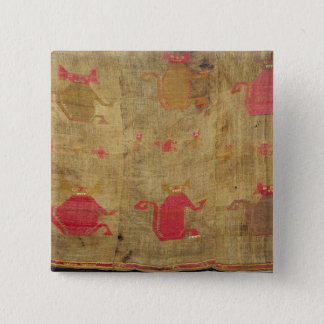 Peruvian shroud; cotton and vicuna brocaded 15 cm square badge