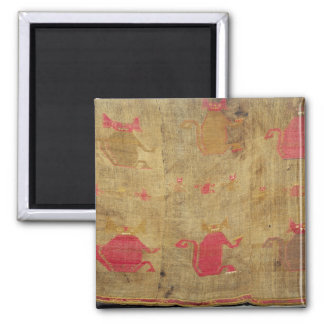 Peruvian shroud; cotton and vicuna brocaded square magnet