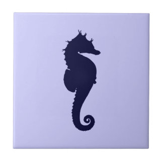 Perwinkle and Dark Blue Sea Horse Tile