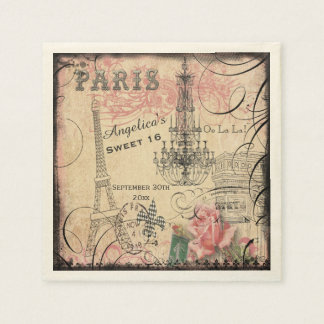 Pesonalized Sweet 16 Eiffel Tower and Chandelier Paper Napkin