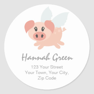 Pesrsonalised Flying Pig Address Stickers