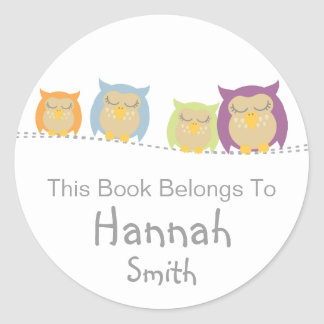 Pesrsonalised Owl Book Stickers
