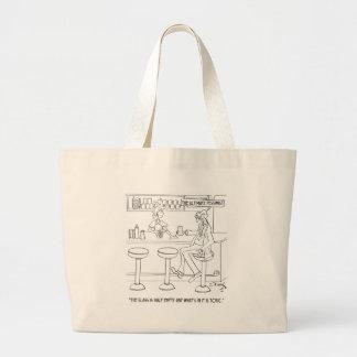 Pessimist Cartoon 9333 Jumbo Tote Bag