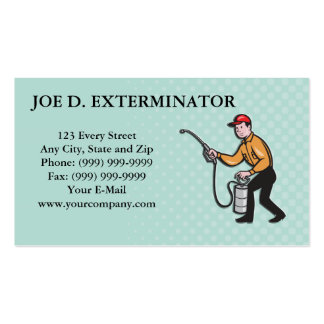 Pest Control Exterminator Worker Spraying Cartoon Business Cards