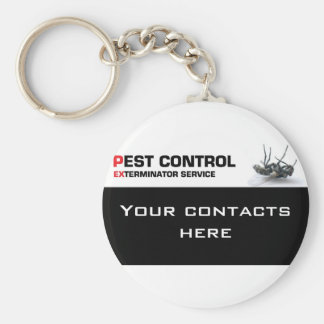 Pest control service basic round button key ring