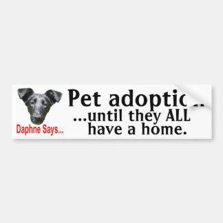 Pet adoption car bumper sticker