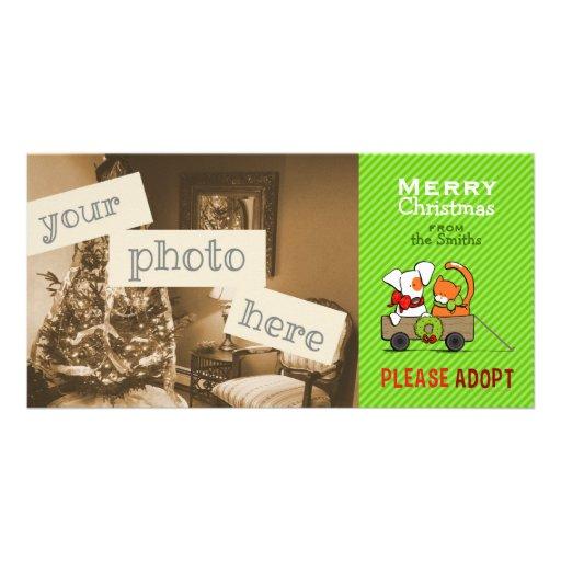 Pet Adoption Christmas Green Stripe Patch n Rusty Custom Photo Card