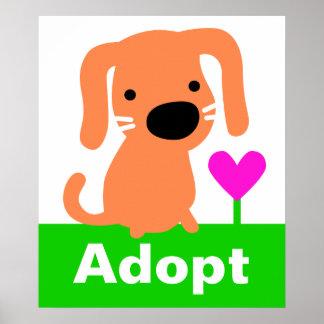Pet Adoption - Orange Dog & Heart Poster