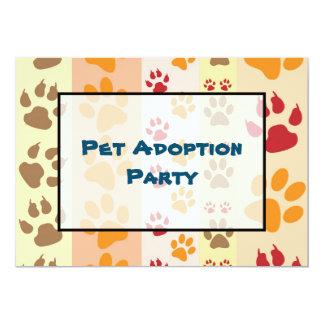 Pet Adoption Party Paw Print Pattern 13 Cm X 18 Cm Invitation Card
