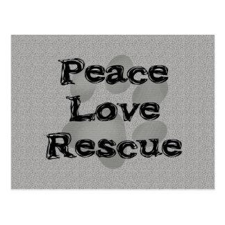 Pet Adoption Peace Love Rescue Postcard