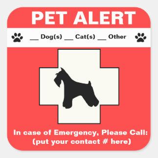 Pet Alert Emergency Square Sticker
