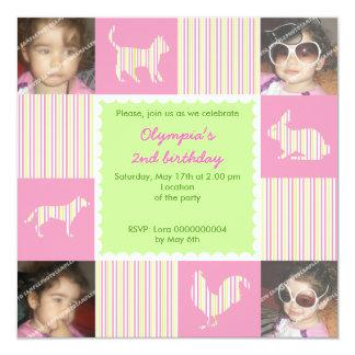 Pet animals & stripes birthday photo invitation