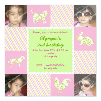 Pet animals & stripes birthday photo invitation