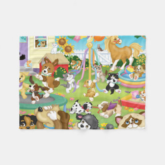 Pet Backyard Fun Flannel Blanket