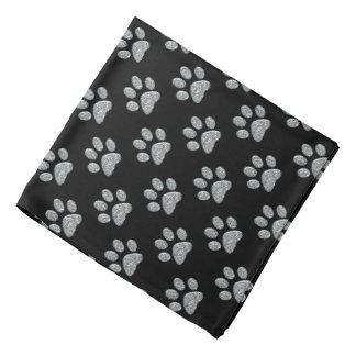Pet Bandana - Lt Silver Bling Paw Prints on Blk