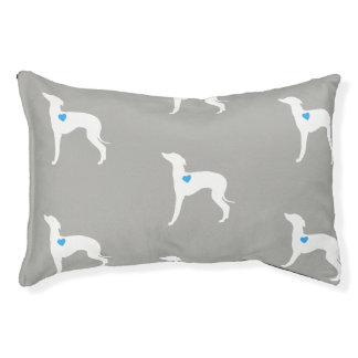 Pet Bed- Italian Greyhound with blue heart