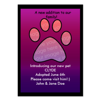 pet birth/adoption announcement pack of chubby business cards