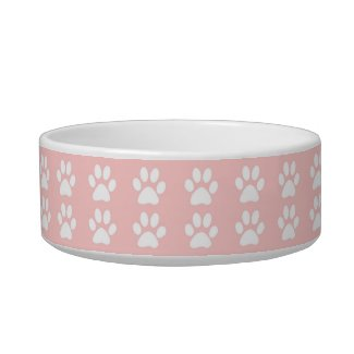Pet Bowl - White Paws on Pink
