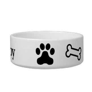 Pet Bowl with Paws and Bones