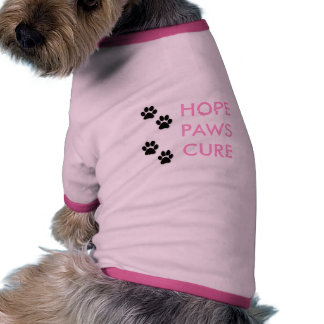 pet breast cancer awareness HOPE PAWS CURE Ringer Dog Shirt