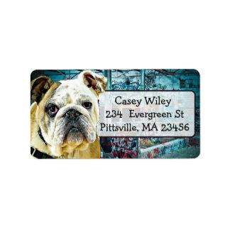 Pet Bulldog Dog Graffiti background  Address Label