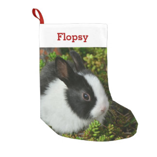 Pet Bunny Lover Rabbit Photo and Name Personalized Small Christmas Stocking