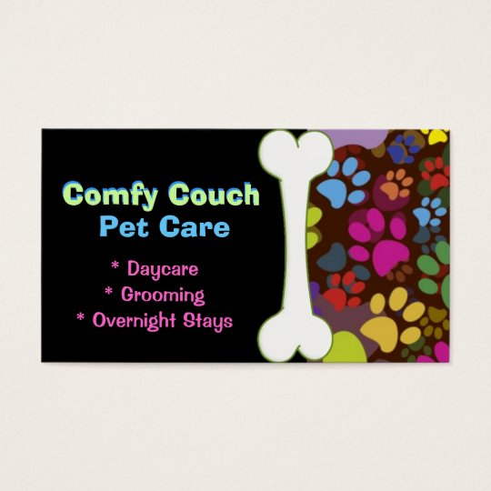 Pet Care Business Card Paw Prints