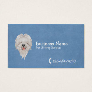 Pet Care Cute Dog Plain Blue Business Card