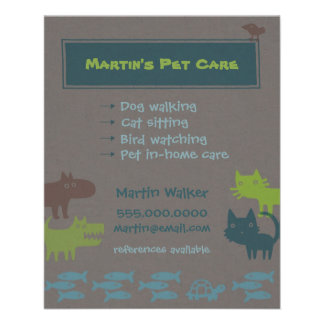 Pet Care Flyer Colorful Animal Silhouettes