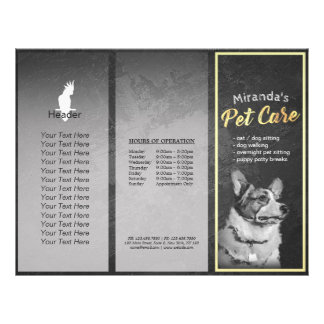 Pet Care Grooming Dog Painting Tri-Fold Brochures