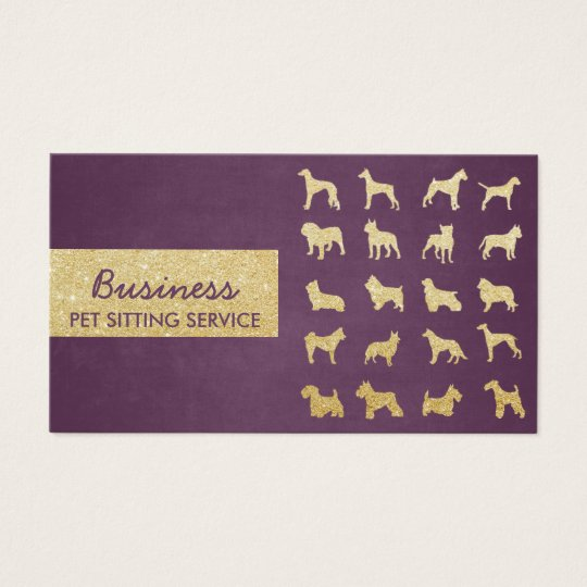 Pet Care Modern Purple & Gold Dogs Silhouettes