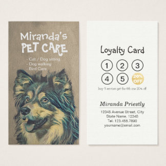 Pet Care Sitting Bathing & Grooming Loyalty Punch Business Card