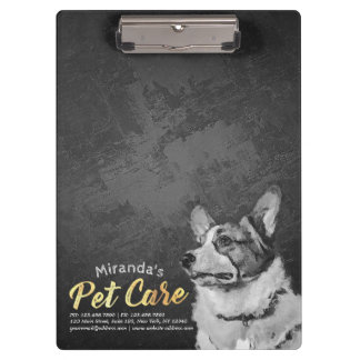 Pet Care Sitting Black and White Dog Oil Painting Clipboard