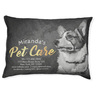 Pet Care Sitting Black and White Dog Oil Painting Pet Bed
