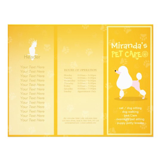 Pet Care Sitting Cartoon Dog Tri-Fold Brochures