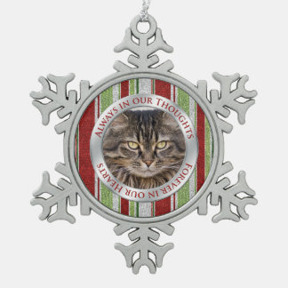 Pet Cat Memorial Photo Christmas Candy Cane Stripe Snowflake Pewter Christmas Ornament