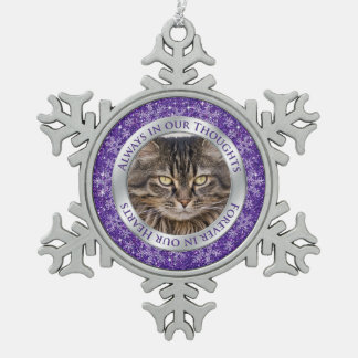 Pet Cat Memorial Photo Christmas Purple Silver Snowflake Pewter Christmas Ornament