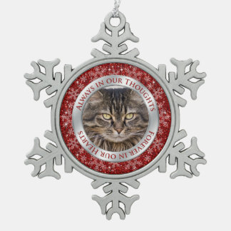 Pet Cat Memorial Photo Christmas Red Silver Snowflake Pewter Christmas Ornament