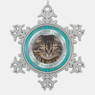 Pet Cat Memorial Photo Christmas Teal Silver Snowflake Pewter Christmas Ornament