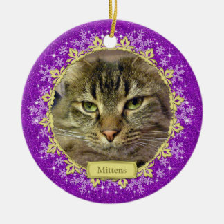 Pet Cat Memorial Purple Snowflake Photo Christmas Christmas Ornament